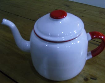 Vintage Red and White Enamel Teapot