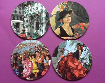 4 Kitsch Retro Souvenir Spanish Flamenco coasters/drink mats  Spanish Flamenco