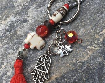 beaded keychain elephant purse charm hamsa hand red tassel key chain women's bohemian yoga zen good luck elephant key chain lotus flower