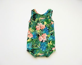 Hawaiian Floral sunsuit, available in size 18-24 months