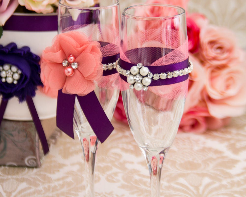 Wedding Champagne Flutes Plum and Coral Wedding Glasses, Coral ...