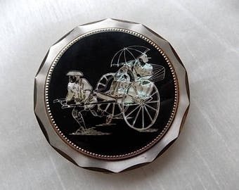 Vintage Compact  Chinese Rickshaw Mother Of Pearl sale price