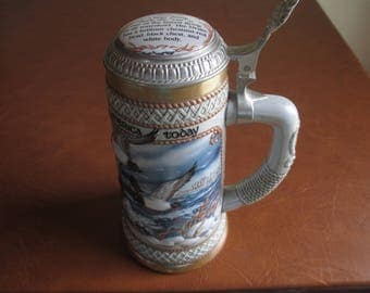 "Budweiser Stein - The Waterfowl Series - Beer Steins - 1989 - Brazil - 9"" High - Collectible, Check Collection! Great Gift Idea - 13994 GIFT"