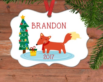 Fox Christmas Ornament - Personalized Cute Christmas Ornament with Fox - Gifts Under 15