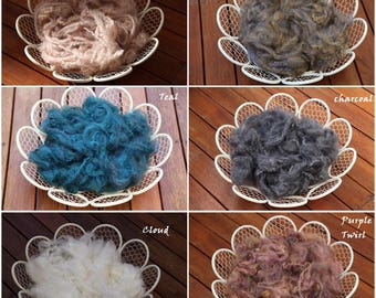 Wool Fluff Basket Filler, Newborn Photo Prop, Merino Newborn Prop Filler Stuffer