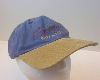 Cancun Mexico Denim Leather bill low profile hat cap 90s jean