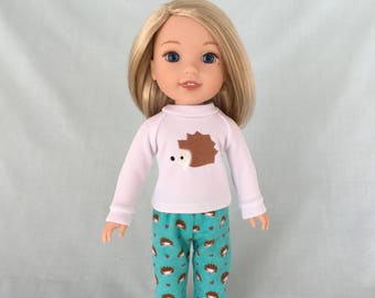 Hedgehog Pajamas for Wellie Wisher/14.5 Inch Doll