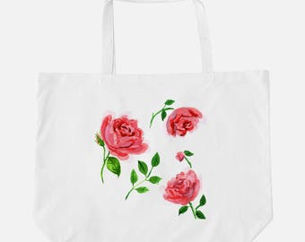 """Oversized Tote """"Floating Garden Rose"""" {Cute Tote, Beach Tote, Summer Tote}"""