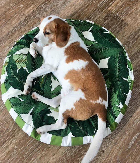 'Tommy' Round Dog Bed with insert  - Green and White tropical print pet bed - 80cm MEDIUM/LARGE