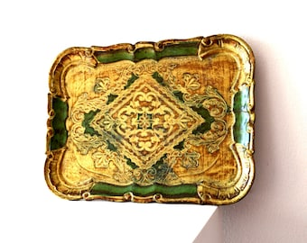 Vintage Green and Gold Rectangle Florentine Wooden Tray / Green and Gold Italian Florentine Tray / Fancy Wood Tray / Ornate Gold Green Tray
