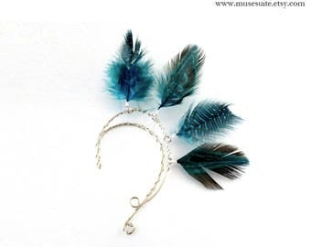 Feather Ear Cuff - Natural Feather Earrings - Fairy pendants - Fae earrings