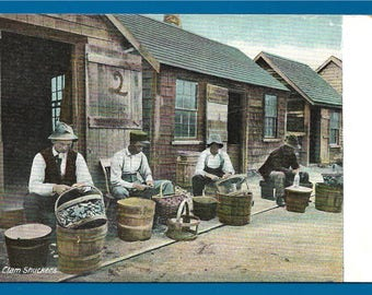 Vintage Postcard - Clam Shuckers  Working on One of the Many Docks in New England  (2699)