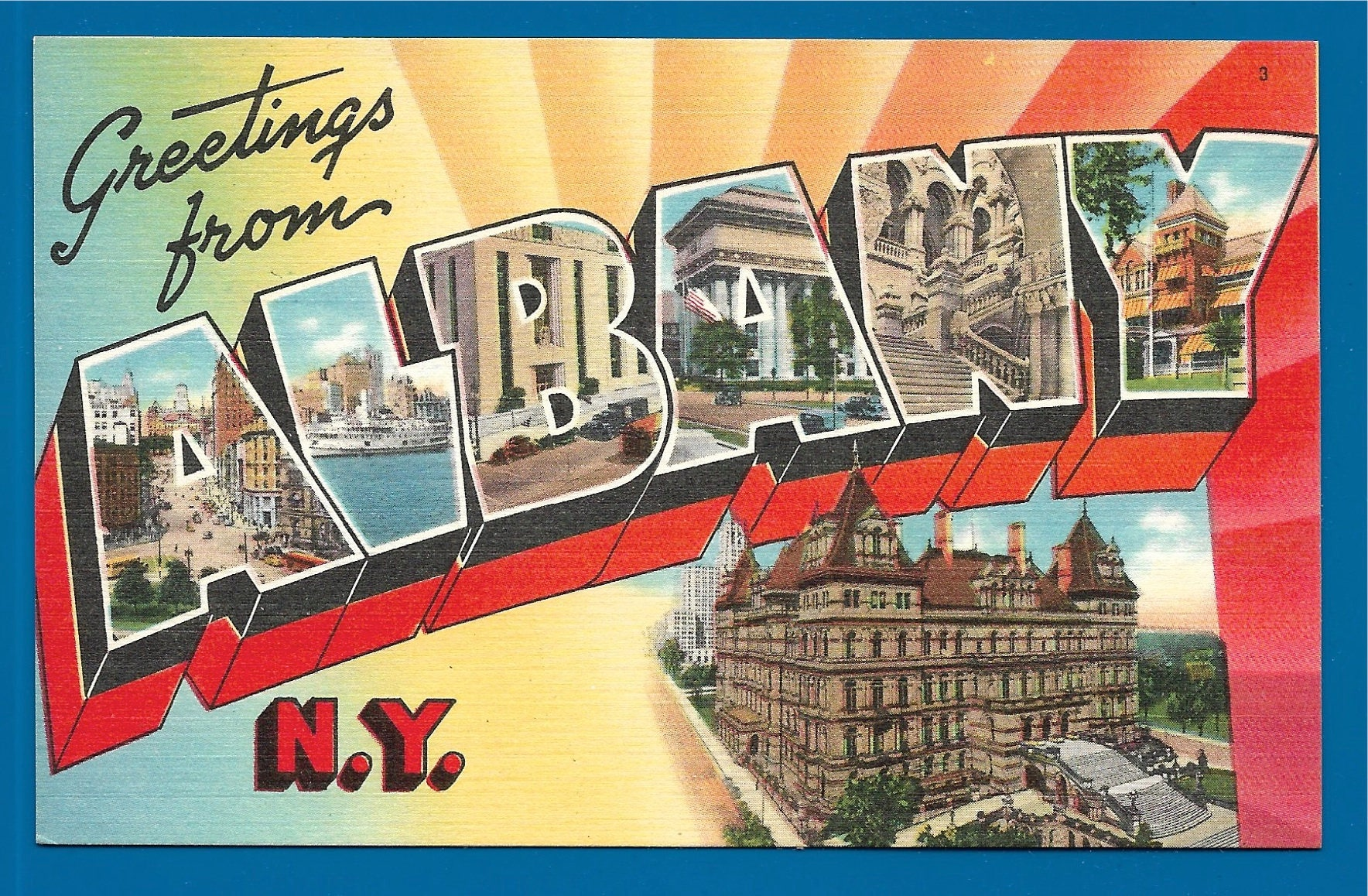 Vintage linen big letter postcard greetings from albany new york vintage linen big letter postcard greetings from albany new york the capital of the kristyandbryce Images