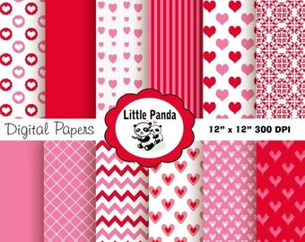 70% OFF SALE Valentine's Digital Papers 12 jpg files 12 x 12  - Instant Download - D189