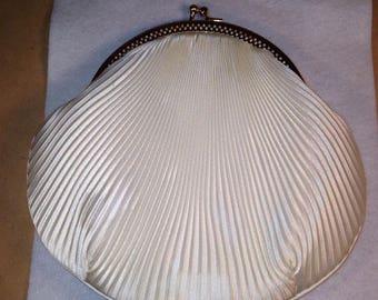 Creamy White Satin Pleated Vintage Handbag Purse with Gold Trim, Wedding or Prom Purse