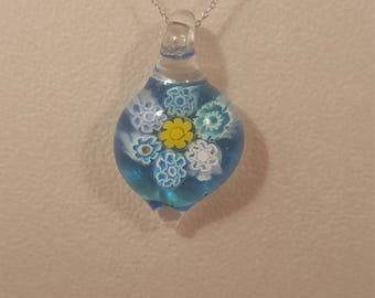 Aqua blue floral pendant, turquoise blue, bright blue, unique gift, cheerful jewellery, glass art