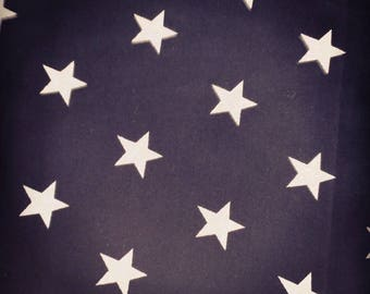 Navy star cotton fabric white