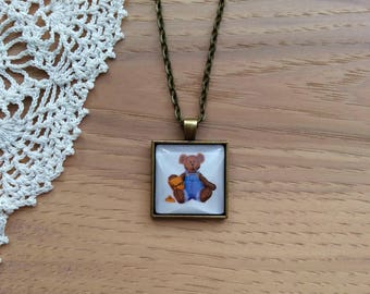 Teddy Bear w/ Honey Jar - Cabochon Necklace - Square Pendant Necklace - Antique Brass Bezel and Chain