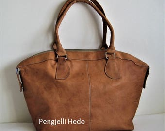 """Casablanca"" Golden caramel leather handbag"
