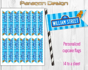 Street Sign - Personalized Cupcake Flag Toppers, Party Paper Flags, Straw Flags - DIY Printable Digital File (Cookie Monster)