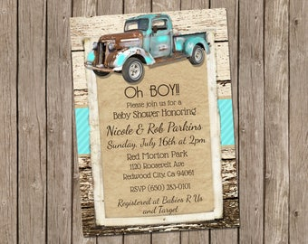 Vintage Truck Baby Shower Invitation, Baby Boy, Retro Invitation,  Turquoise and Rustic Wood, Rustic Baby Shower