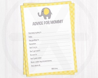 Baby Shower Advice Cards - Advice for Mommy - Yellow Elephant Baby Shower Printable Games - Funny Baby Games - Baby Shower Keepsake