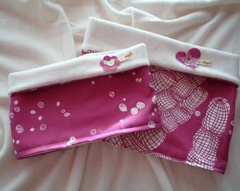 SALE - Set of 2 reversible fabric/fleece MOM & daughter collars