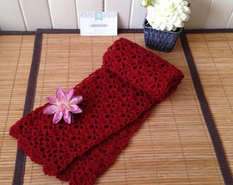 Elegant Japanese lace crochet, Merino and cashmere, red scarf