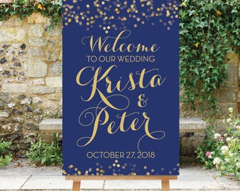 Wedding Welcome Sign - Navy Blue and Gold - Printable Large Welcome Sign - Gold Confetti - Reception Sign Engagement Welcome The Catalina