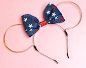 Patriotic Denim Bow Wire Mouse Ears Heandband