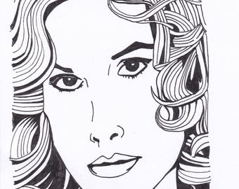 Dorothy Stratten - Playboy model and Hollywood starlet - original drawing