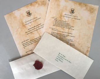 Personalized Hogwarts Acceptance Letter