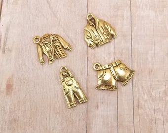 Set of 4 Gold Pewter Charms - Leather Jacket - Overalls - Button-Up Shirt - Denim Shorts - Clothing