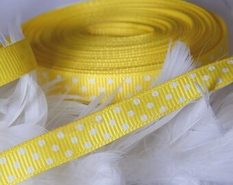 x4m Yellow Ribbon with white dots grosgrain Ribbon 10 mm