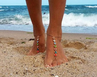Gold Barefoot Sandals, Chakra Barefoot, Gold Foot Jewelry ,Rhinestone Anklet , Beach Sandals ,Gold Anklet Shoes ,Gold Foot