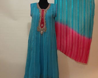 Ladies Long blue pink chiffon dress, pants and shal pakistan suit  size M
