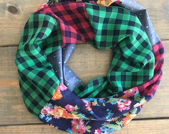 Floral, Chambray, and Gingham Infinity Scarf