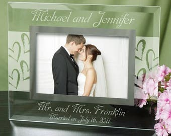 Couples Wedding Picture Frame, Personalized Frame, Glass Engraved Photo Frame