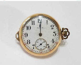ON SALE Vintage, Elgin, Pendant, Pocket Watch, Movement, Gold Filled Case, Steampunk, Altered Art, Jewelry, Beading, Supplies, Supply