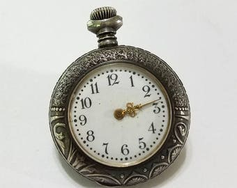 ON SALE Antique, Pocket Watch, Sterling Silver, Cavour, New England Watch Company, Art Noveau, Steampunk, Supply, Supplies