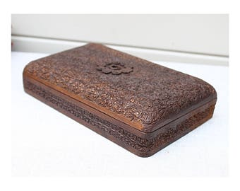 Intricately Carved Small Antique Wooden Box