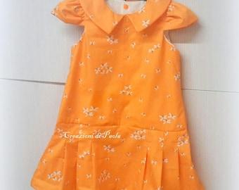 Orange girls Sun dress with tiered skirt