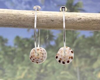 Shell Earrings, Tiger Puka Shell Earrings, Beach Jewelry, Sea Shell Earrings, Puka Shell, Beach Wedding, Silver Hoop Earrings