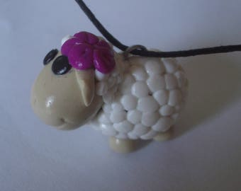 PENDANT FIMO polymer clay white sheep