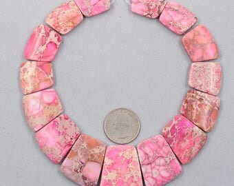 Sea Sediment Jasper Slice Beads Pink YHA-320-2