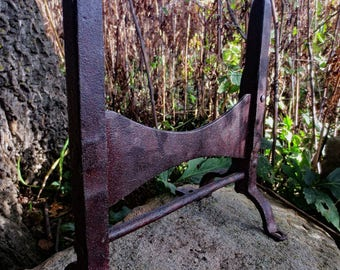 Fantastic 19th Century Hand Forged Boot Scraper, w/ reforged repair...screams French Farmhouse...mortise and tenon joinery...Folk Art...
