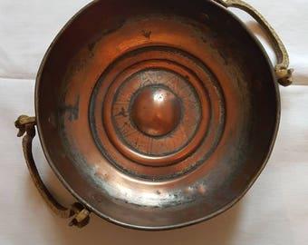 Vintage Greek Brass & Copper Cooking Pot