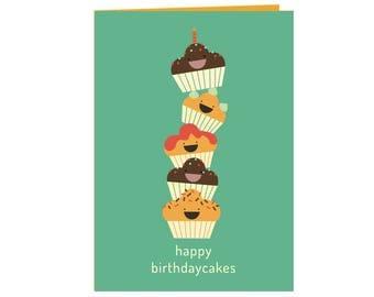 funny Happy birthday cakes! - birthday card - kids and adults - tower of cupcakes - funny happy cupcakes - birthday card for boys and girls