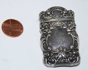 SALE Antique Sterling Silver Repousse Match Safe Box Vesta Brooch Pin Signed Vintage Victorian