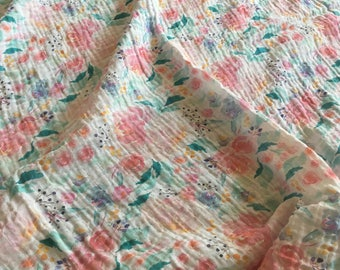 Mermaid Floral Swaddle, Organic Gauze Baby Blanket, Baby Girl Swaddle, Floral Muslin Baby Blanket, Pink, mint floral